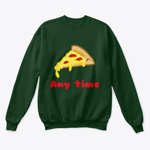 Pizza Any Time Classic Crewneck Sweatshirt Image 4