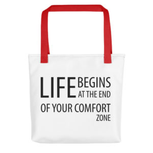 Life Begins at the end of the comfort zone All-Over Tote - Image 1